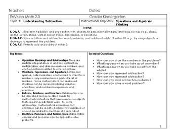Updated Envision Math 2.0 Kindergarten Topic 7