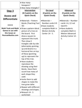 Envision Math 2.0 Lesson Plans Grade 1 - Topic 14