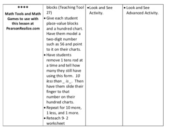 Envision Math 2.0 Lesson Plans Grade 1 - Topic 9