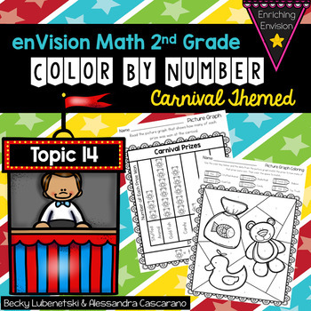 Envision Math 2.0 Topic 14 Color By Number Activities 2nd Grade