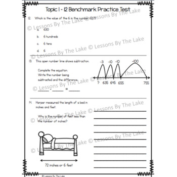 Envision Math 2.0 Topics 1-12 Benchmark Practice Test 2nd Grade