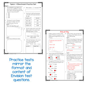 Envision Math 2.0 Topics 1-8 Benchmark Practice Test 5th Grade