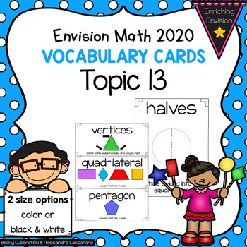 Envision Math 2020 Topic 13 Vocabulary Cards ~ 2nd Grade