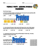 Envision Math 3rd Grade Topic 2 Test--Adding Whole Numbers