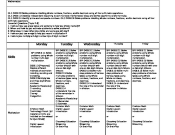 enVision Math 4th Gr Lesson Plan Topic 7 cont. - Topic 8