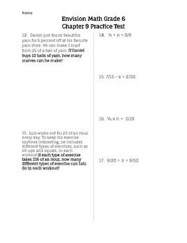 Envision Math- Ch.9 Practice Test Grade 6