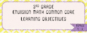 3rd Grade Envision Math - Learning Objectives