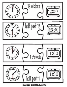Envision Math Common Core Puzzle Telling Time Freebie