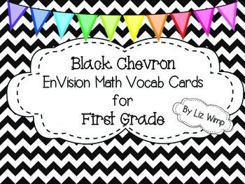 Envision Math First Grade Vocabulary Cards {Black Chevron!}