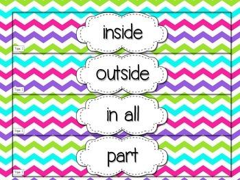 Envision Math First Grade Vocabulary Cards {Multi-Colored Chevron!}