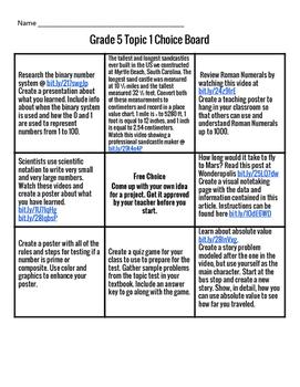 Envision Math Grade 5 Topic 1 Choice Board