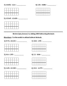 Envision Math Grade 5 Topic 2 Quiz Lessons 4-6