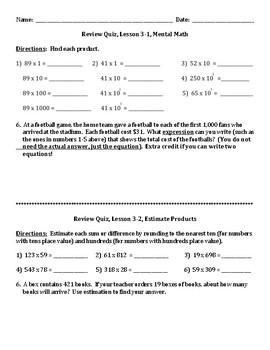 Envision Math Grade 5 Topic 3 Quiz Lessons 1-3