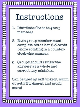 Envision Math Grade 5 Topic 4 Lesson Review, Center Activities, Activity Cards