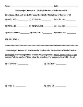 Envision Math Grade 5 Topic 4 Quiz Lessons 1-3