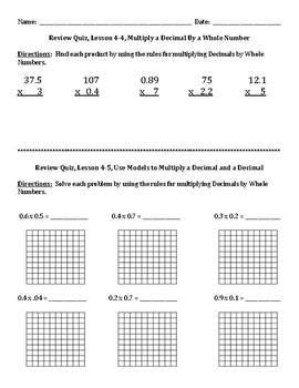 Envision Math Grade 5 Topic 4 Quiz Lessons 4-7