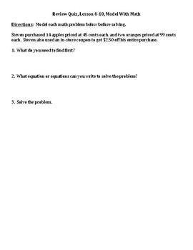 Envision Math Grade 5 Topic 4 Quiz Lessons 8-10