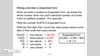 Envision Math Notebook Grade 5 Topic 1 Lessons 1-7 PLUS Review