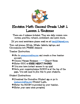 Envision Math Second Grade Unit 1 Socrative Quizzes