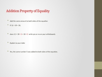 Properties of Equality Powerpoint
