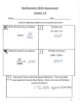 Envision Math Skills Assessments Grade 5 Answer Key