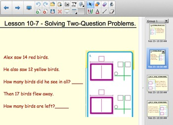 Envision Math Solving Two Question Word Problems - Smartboard Activity