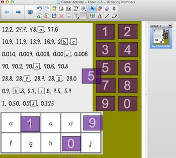 Envision Math Topic 1-5-Center Activity-Ordering Numbers-Tiles Math-Smartboard