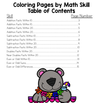 Envision Math 2.0 Topic 1 Color By Number Activities