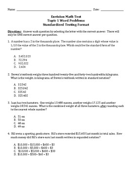 Envision Math Topic 1 Test 5th Grade Word Problems Standardized Test Format