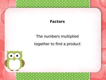 Envision Math Topic 1 Vocabulary 4th Grade Owl Theme