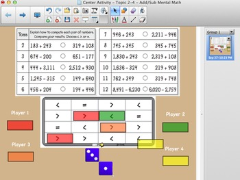 Envision Math Topic 2-4 Center Activity Mental Math Adding & Subtracting Numbers