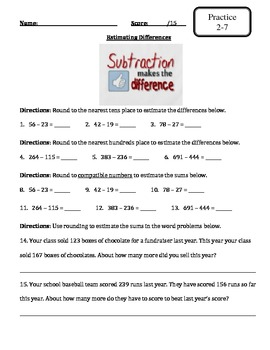 Envision Math - Topic 2 - Addition and Subtraction - Extra Materials -3rd Grade