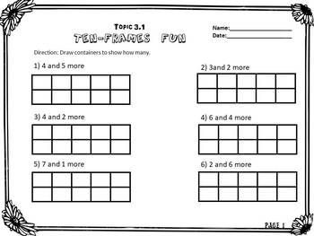 Envision Math Topic 3.1- Representing Numbers on A Ten Frame