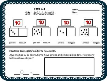 Envision Math Topic 3.4 - Finding Missing Parts of 10