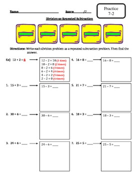 Envision Math - Topic 7 - Meanings of Division - Extra Materials -3rd Grade