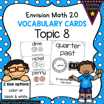 Envision Math Topic 8 Vocabulary Cards ~ 2nd Grade