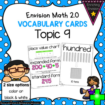 Envision Math Topic 9 Vocabulary Cards ~ 2nd Grade