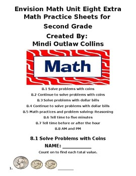 Envision Math Unit Eight Extra Practice Sheets for Second Grade | TpT