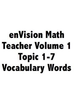 Third Grade: enVision Math 2.0 Volume 1 Vocabulary Cards
