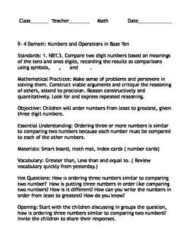 Envision Math lesson Plan 9-4 first grade
