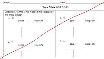 Envisionmath Topic 7 (factors) Quiz 1 (7-1 & 7-2) & Answer Key