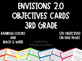 Envisions 2.0 - Objectives Cards - 3rd Grade - Half Pages