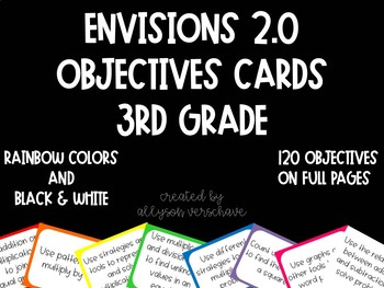 Envisions 2.0 - Objectives Cards - 3rd Grade - Full Pages