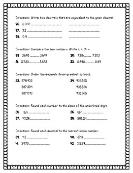 Envisions Chapter 1 Test 5th Grade