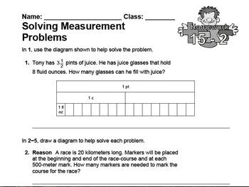 enVision Fourth Grade Math Topic 15 Homework Sheets