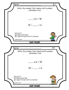 Envisions Grade 3 Topic 8 Exit Tickets