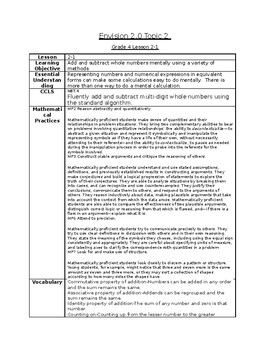 Envisions Grade 4 Topic 2 Lesson Plans lessons 1-6