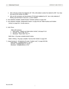 Envisions Grade 6 TOPIC 11 Lesson 11.1 Understand Percent Lesson Plans