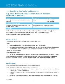 Envisions Grade 6 TOPIC 11 Lesson 11.2:  Fractions, Decimals, and Percents