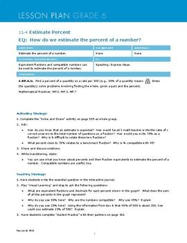 Envisions Grade 6 TOPIC 11 Lesson 11.4:  Estimate Percent